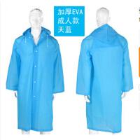 便携雨披半透明雨衣成人旅游雨衣风衣式雨披 EVA环保雨衣厚款 蓝色