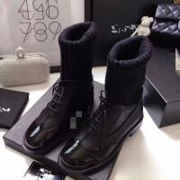 靴子女 短靴带毛冬款针织短靴女粗跟漆皮系带毛线连袜靴中跟袜式马丁靴子 TBP 黑色 皮里