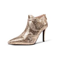 秋冬款金色蛇纹羊皮名媛晚宴年会高跟鞋女冬季细跟尖头及踝裸靴女 金色