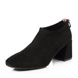 Tata/他她2018春专柜同款绒布通勤方头粗高跟女皮鞋FGP21AM8