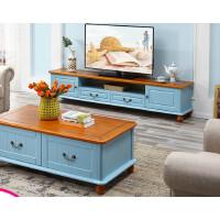 地中海电视柜客厅茶几电视柜实木蓝色组套田园风格家具小户型 组装