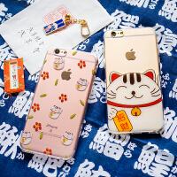 可爱招财猫苹果7plus全包硅胶保护套6plus卡通手机壳超薄6s软壳女