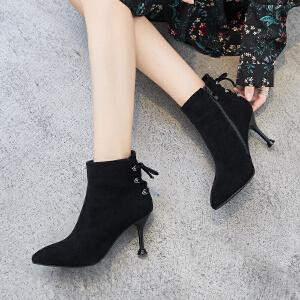 ZHR2018秋冬季新款高跟短靴尖头细跟单靴韩版女靴百搭学生靴子潮