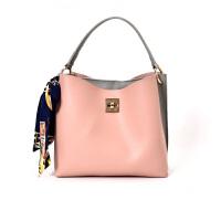 包包女包时尚手提包大包简约单肩包斜挎包撞色水桶包 粉色 送丝巾