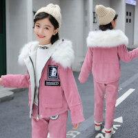 女童冬装2018新款套装韩版7中大童9洋气12岁儿童加绒加厚两件套潮