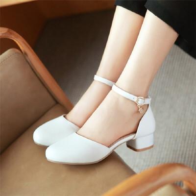 女大童白色包头舞蹈鞋韩版一字扣高跟凉鞋中学生主持鞋
