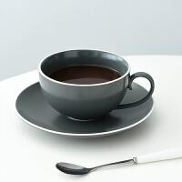 创意欧式咖啡杯家用 陶瓷手工咖啡具大容量拉花杯简约咖啡杯 莫根斯咖啡杯碟(300ML)
