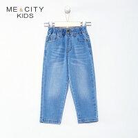 【1件2.5折到手价:58.8】米喜迪mecity童装春新款男童舒适棉牛仔裤时尚简约休闲裤