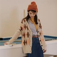 七格格慵懒风外搭开衫女薄款2018秋装新款女宽松格纹复古上衣针织衫外套