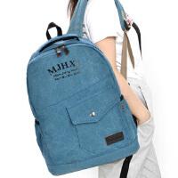 双肩包旅行背包休闲牛仔帆布电脑包男女初中学生书包