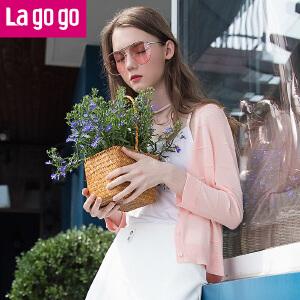 【清仓3折价98.7】lagogo拉谷谷2019夏季新款针织开衫女九分袖薄外套空调衫短款