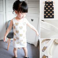 女童T恤长款韩版童装纯棉小熊婴幼儿儿童宝宝卡通背心连衣裙A字裙