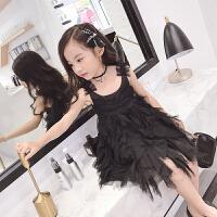 儿童夏裙女童礼服裙吊带连衣裙小黑裙蛋糕裙中大童蓬蓬公主裙韩版