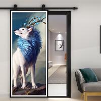 北欧风格卫生间卧室厨房谷仓门定制玻璃移门推拉门o0e