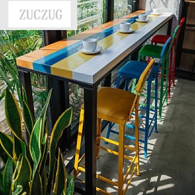 ZUCZUG美式实木吧台桌靠墙星巴克咖啡厅奶茶店酒吧吧台桌椅高脚家用组合 一般在付款后3-90天左右发货,具体发货时间请以与客服协商的时间为准