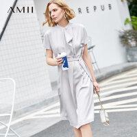 【3折到手价169元】Amii极简气质小立领短袖连衣裙2019夏新荷叶边衣领配腰带连衣裙
