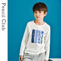 【3件2折:23.8】铅笔俱乐部童装2020春季新款男童长袖T恤中大童圆领上衣儿童休闲T