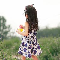 恩恩熊女童夏季裙子儿童2018新款01/02/03/04/05/06公主4岁背心连衣裙宝宝夏装女80857