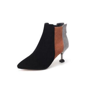 WARORWAR 2019新品YM29-3603C秋冬欧美细跟高跟鞋女鞋潮流时尚潮鞋百搭潮牌切尔西靴短靴