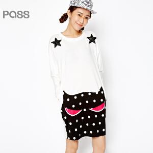 PASS原创潮牌春装新款 街头百搭纯色星星印花波点拼接短连衣裙女6612411004