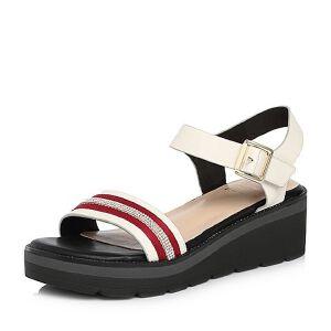 Tata/他她2018夏专柜同款牛皮水钻织带休闲坡跟女凉鞋FM702BL8