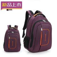 2018双肩电脑包商务大学高中生书包男女背包旅行休闲大容量行李工具包 紫色 款式一