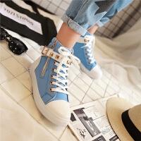 韩版儿童鞋中大童少女平底鞋女童初中高中学生高帮帆布鞋板鞋SN3743