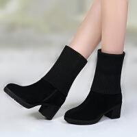 女款靴子秋冬中长筒靴防滑粗跟短靴女磨砂毛线女版雪地靴中跟女鞋