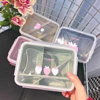 日式可爱草莓方形麦秸秆饭盒泡面碗学生快餐盒男女方便面碗便当盒