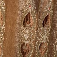 欧式窗帘客厅大气2018刺绣雪尼尔布料落地窗成品遮光卧室 蓝色-窗帘布【改短】 蓝色