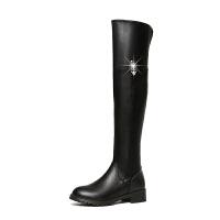 欧美2018冬新款英伦风粗跟圆头长靴长筒靴及膝靴女靴子高靴高筒靴 黑色 35-40