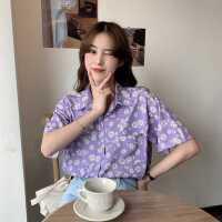 小雏菊紫色衬衫女夏季2020新款韩版宽松设计感小众洋气碎花上衣潮