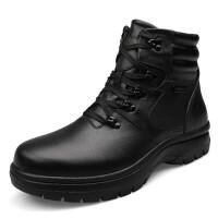 皮鞋男士高帮鞋男户外高帮雪地靴加毛加厚保暖新款 大码- 黑色