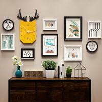 北欧照片墙装饰创意个性相框墙简约现代客厅相框挂墙组合连体挂 D款 9框黑白两色+画芯+配件