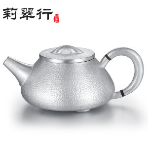 莉翠行 足银功夫茶具 银茶壶手工 隔热波纹手工银壶 约380克 200毫升容量