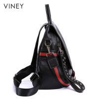 Viney2019新款潮时尚真皮女包书包女休闲大容量双肩包女软皮背包