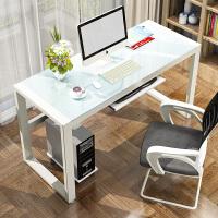 电脑台式桌简约现代钢化玻璃家用办公桌游戏电竞桌单人书桌写字桌