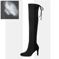过膝靴女长靴2018秋冬季新款高筒靴粗跟弹力瘦瘦靴细跟长筒靴子女SN7164