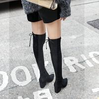 秋冬新款尖头粗跟高跟平底过膝瘦腿弹力长靴高筒瘦瘦靴长筒靴子女SN8868