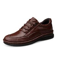 男鞋冬季商务真皮皮鞋耐磨防滑厚底休闲鞋男士系带登山鞋