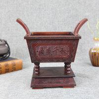 鼎盛千秋红酸枝香盒鼎香炉红木雕刻工艺品摆件