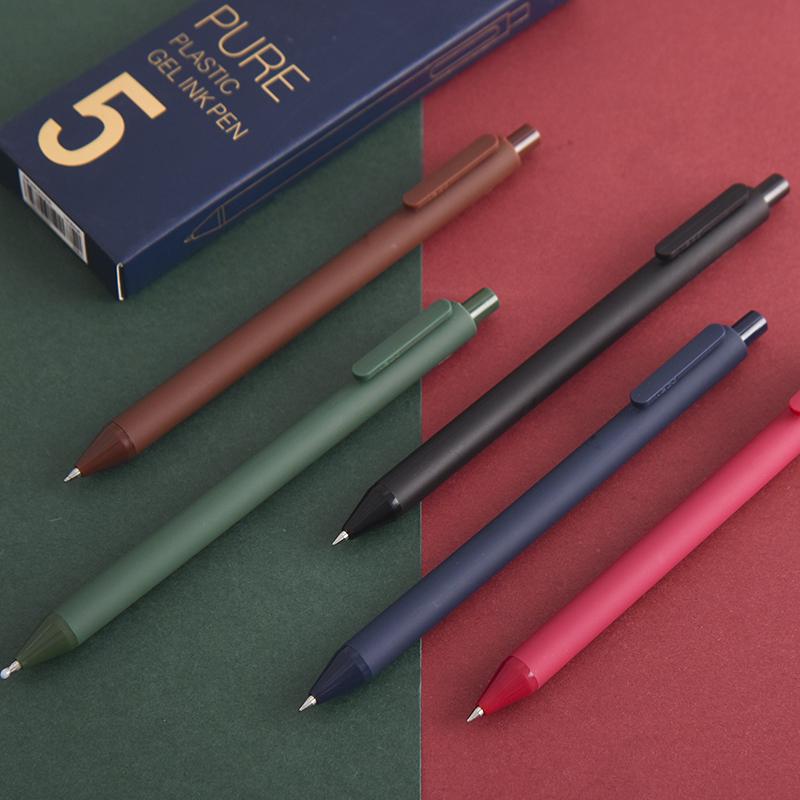 KACO复古色中性笔子弹头按动0.5mm彩色水笔多色学生用彩色笔五支