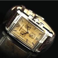 阿玛尼手表男表 方形三眼计时皮带腕表AR0285