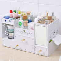 大号木质桌面化妆品收纳盒抽屉柜木制口红护肤品梳妆台首饰整理盒