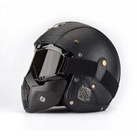 四季通用个性电动机车头盔半盔 哈雷复古太子摩托车3/4头盔男 (面罩)
