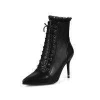 尖头高跟鞋中靴2018新款秋冬季女鞋细跟马丁靴女短靴女靴子短筒靴真皮