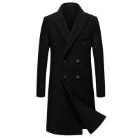 男士中年羊毛呢双排扣 2018流行大衣纯羊毛双面呢大衣男长款过膝韩版条