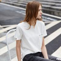 【预估价74元】Amii极简港风印花短袖T恤女2019夏新款圆领口袋直筒宽松上衣小短T