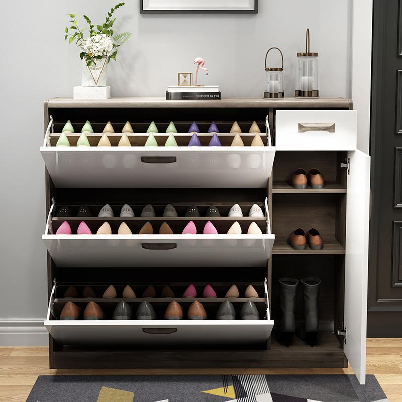 北欧超薄鞋柜门口家用玄关柜现代简约门厅柜大容量储物柜翻斗鞋柜