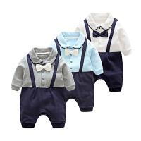 女婴儿童连体衣服6个月0岁春秋季秋款长袖男童宝宝哈衣新生儿爬服